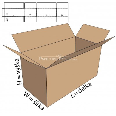 Kartonová krabice třivrstvá 200x100x100mm, fefco 0201,...